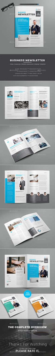 Multipurpose Newsletter Template InDesign INDD | Newsletter Template ...