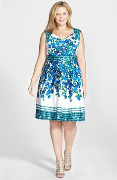 Adrianna Papell Floral Print Stretch Cotton Fit & Flare Dress (Plus Size)