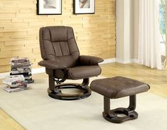 Cheste Traditional Brown Leatherette Lounger w/Ottoman