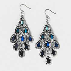 Blue and Silver Teardrop Waterfall Drop Earrings