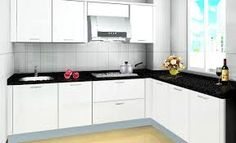 Tips asas masuk rumah baru pasang kabinet dapur black and white contemporary kitchen Building Kitchen Cabinets, Kitchen Cabinet Colors, Kitchen Flooring, Kitchen Shelves, Kitchen Layout, Home Design, Modern Design, Layout Design, White Contemporary Kitchen
