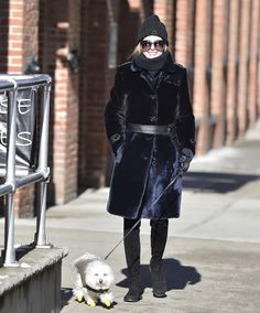 Olivia Palermo takes Mr Butler for a walk in Brooklyn