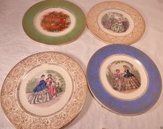 Salem China Century 4 Collectible Plates Gold Trim Victorian and Fireside #SalemChina