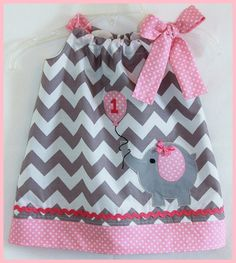 Super Cute Gray Chevron Stripe and Pink Polka dot Birthday Elephant with Balloon applique dress
