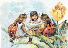 Vintage Ladybug Fairies digital download by polkyanddot on Etsy