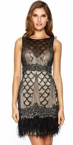 Sue Wong 1920's Gatsby Beaded Sequin Black Nude Feather Evening Flapper Dress.