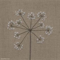 Cow Parsley on Linen by Jo Butcher.  Machine and #hand #embroidery