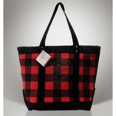 Ralph Lauren Manners Canvas Tote Ink Black Red