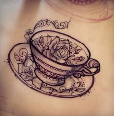 Neo traditional tattoo flash teacup