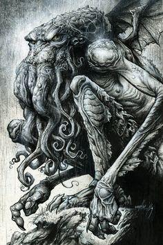 P Lovecraft痴 Cthulhu by Jon Wayshak Comic Art Cthulhu Tattoo, Cthulhu Art, Lovecraft Cthulhu, Hp Lovecraft, Arte Horror, Horror Art, Zbrush, Art Goth, Concept Art Landscape