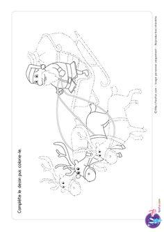Graphisme dessin de Noel Le traineau de Père Noel tiré par les rennes