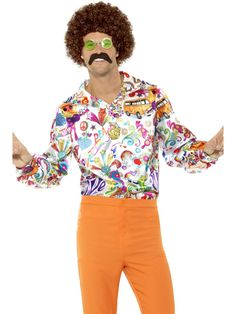 Smiffys Groovy Hippie Peace Disco Shirt Adult Mens Halloween Costume 44910 for sale online Costume Halloween, Costume Disco, Adult Halloween, 1960s Costumes, Adult Costumes, Costume Hippie, Hippy Fancy Dress, 70s Shirts, Disco Shirt
