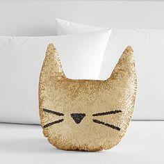 The Emily & Meritt Sequin Cat Pillow #pbteen