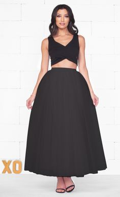 Indie XO Do A Twirl Black Layered Pleated Elastic Waist Swiss Tulle Ball Gown Maxi Skirt - Just Ours!