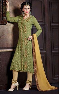 Picture of Gleaming Mehendi Green Churidar Kameez