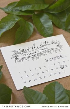 Save the date with leaf detail | FREE printable | Design & Photo: Bells & Whistles Stationery Design