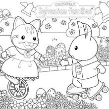 Celebrate Easter with the Sylvanian Families coloring page