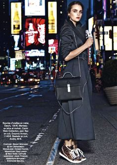 Glamour Frances November 2013 - long coat and metal sneakers? it's possible!