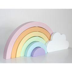 Kinderzimmer Dekoration, pastellfarbener Regenbogen mit Wolke, aus Holz, handmade in Schweden, von Pixistuff