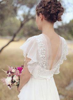 A-Line/Princess V-neck Sweep Train Beading Flower(s) Chiffon Zipper Up Sleeves Short Sleeves Hall Garden / Outdoor Reception No Spring Summer Ivory Wedding Dress