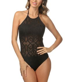 Love this Black Bare Occasion High-Neck Halter Mio One-Piece by La Blanca on #zulily! #zulilyfinds