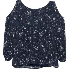 VELVET BY GRAHAM & SPENCER Naveen Stars Blue // Blouse with star... ($330) ❤ liked on Polyvore featuring tops, blouses, long sleeve blouse, blue blouse, long sheer blouse, transparent blouse and sheer sleeve top