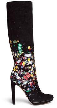 PAUL ANDREW 'Greenwich Evening' paillette suede platform boots