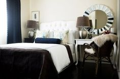 lamps, mirror > Small Bedroom Decorating Ideas: Desks Doing Double Duty as Nightstands