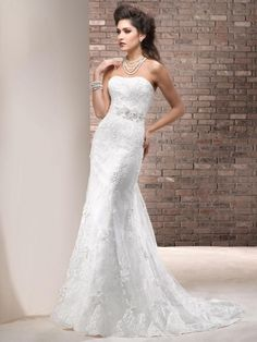 Sheath/Column Strapless Lace Satin Sweep Train White Sashes / Ribbons Wedding Dresses