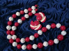 Retro Vintage 1960's Red & White Earrings & Chunky Bead Strand Necklace Plastic #Unbranded #StrandString