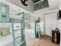 beach house bunk room with turquoise bunk beds | Nest Interior Design