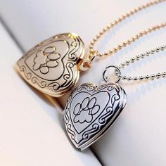 Dog Paw Print Photo Locket Necklace Gold and Silver