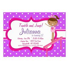 Purple N Pink Gymnastic Birthday Party Invitation