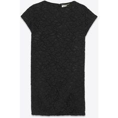 Saint Laurent T-Shirt Dress ($1,285) ❤ liked on Polyvore featuring dresses, tops, cap sleeve t shirt dress, boat neck dress, t shirt dress, boat neckline dress and yves saint laurent dresses
