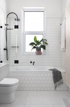 White tiled bathroom