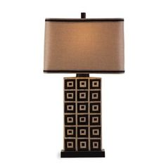 Buy Bassett Mirror Company Lakota Table Lamp in Black/Tan with Fabric Shade from Bed Bath & Beyond