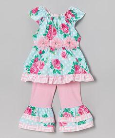 Look at this #zulilyfind! Pink & Blue Barb Top & Ruffle Pants - Toddler & Girls by AnnLoren #zulilyfinds