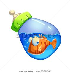 Illustration: Little Fish Swimming in the Milk Bottle. Realistic Fantastic Cartoon Style Artwork / Story / Scene / Wallpaper / Background / Card Design  - stock photo