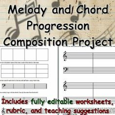 Composition project for upper elementary through middle school students. Compose a short chord progression, add a melody, notate and perform. Includes editable worksheets and rubric, powerpoint slides to teach chord function and structure, and teaching suggestions too.
