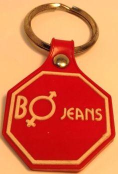 Vintage Denim store Promotional Keychain BO JEANS  Ancien Porte-Clés ARRET-STOP