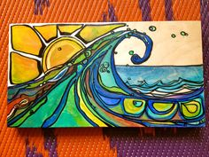 Original Surf Art California Wave with by laurentannehillART ~ Check this chicka out.  Great Surfer art!