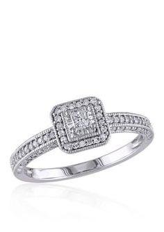 Belk  Co. White Gold 14 ct. t.w. Diamond Engagement Ring in 10k White Gold