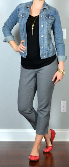 outfit post:: jean jacket, black shirt, grey tailored ankle pants, red ballet flats