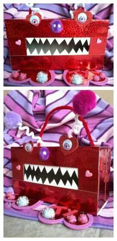We are so doing these!! Kids'  Tissue Box Monster Valentine holder. Could do this any time of year for Monster theme!