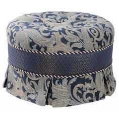 Whether you are looking for additional seating options, a place to rest your feet, or simply a decorative accent, this lovely blue ottoman is an ideal addition to your home. The fabric emits a soft sheen in the light.