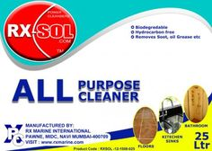 All Purpose Cleaner is a superior & powerful alkaline buffer cleaner containing corrosion inhibitors toprevent the corrosion of metals . It is a low toxic product with an exceptional solvency power on soiled & oily matter with good foaming qualities . It is free from hydrocarbon solvent , bio-degradable and minimizes the extreme hazards to personnel while handling materials .  Click Link ::: http://www.rxmarine.com/all-purpose-cleaner-25-ltr
