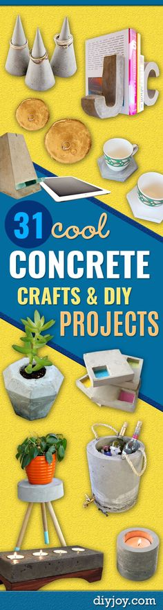 DIY Projects Made With Concrete - Quick and Easy DIY Concrete Crafts - Cheap and creative countertops and ideas for floors, patio and porch decor, tables, planters, vases, frames, jewelry holder, home decor and DIY gifts.  Modern, Rustic and Farmhouse Decor Ideas http://diyjoy.com/diy-projects-concrete