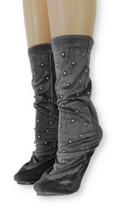 Ribbed Grey Velvet Socks with Beads Velvet Socks, Crew Socks, Comfy, Beads, Grey, Unique, Spandex, Modern, Products