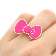 'Cute Bow' Enamel Ring in PINK Hello Kitty Bow