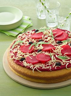 "Pizza Cake Not your average dessert ""pizza,"" this creative cake is easier than it looks to make! Fruit Pizza Frosting, Fruit Pizza Bar, Easy Fruit Pizza, Dessert Pizza, Fruit Roll, Pizza Birthday Cake, Pizza Cake, Pizza Cupcakes, Cookie Pizza"